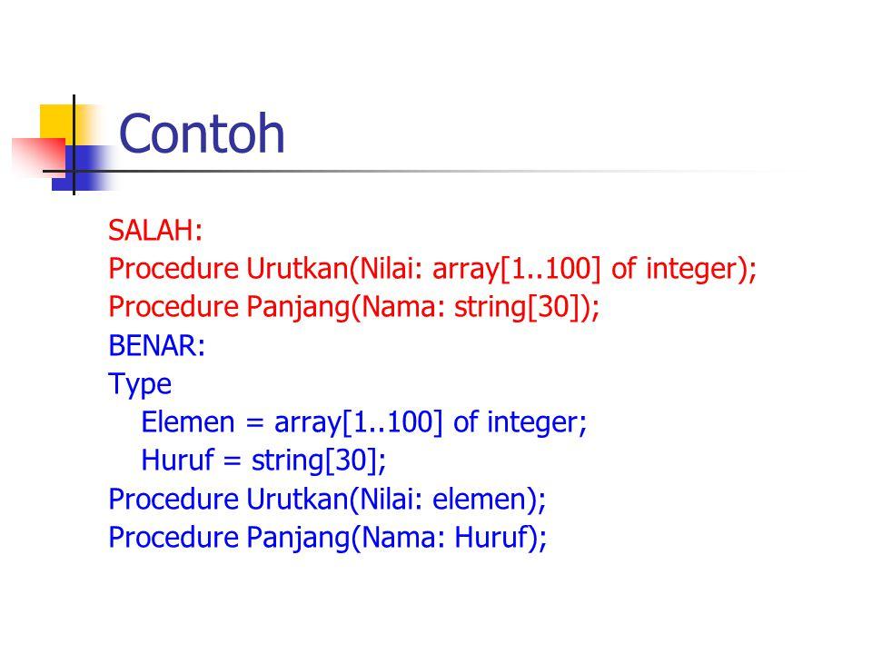 Contoh SALAH: Procedure Urutkan(Nilai: array[1..100] of integer);